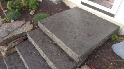 These are stamped concrete stairs in Folsom, California