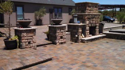 stone wall fireplaces stamped concrete el dorado hills